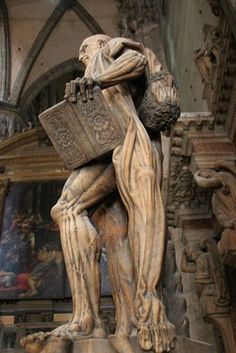 In my trip to Milan - I saw the St. Bartholomew Statue in the Duomo di Milano - skinned alive for his beliefs - the artist (Marco D'Agrate) sculpted St. Bartholomew draping his own skin like a garment or cape over his shoulder. Spooky World, Metal On Metal, Milan Cathedral, Italian Sculptors, Visual Metaphor, Religious Images, Art And Architecture, Saints, Sculptures