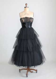 I have picture of my aunt wearing this on Executive Night, 1958. Vintage 1950s Harry Keiser Black Prom Dress