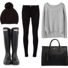 HUNTER boots, black skinny jeans, black leather bag, high low sweater shirt and poof-ball winter hat
