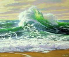 Emerald jewel lost in a wave, the lasting beauty is etched upon the heart never is lost always remains in the waves memory. No Wave, Landscape Art, Landscape Paintings, Beautiful Ocean, Sea Waves, Surf Art, Seascape Paintings, Ocean Art, Beach Art