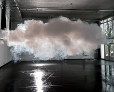 The Nimbus Platform   Berndnaut Smilde  The Nimbus Platform  The Dutch artist Berndnaut Smilde has developed a way to create a small, perfect white cloud in the middle of a room. It requires meticulous planning: the temperature, humidity and lighting all have to be just so. Once everything is ready, Smilde summons the cloud out of the air using a fog machine. It lasts only moments, but the effect is dramatic and strangely moving.