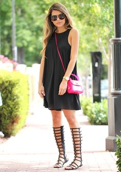 gladiator sandals with black dress