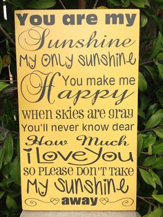 You Are My Sunshine Wood Subway Sign 12x20 by LilMissScrappy, $39.95