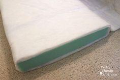 wrap foam in batting. Good to know when I diy sofa cushion.