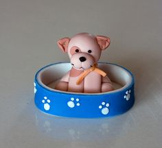 Doodle in his bed porcelana fria polymer clay