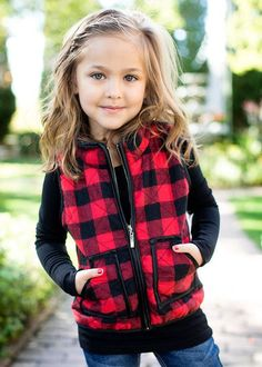 Girls Buffalo Plaid Quilted Vest Cute Warm Padded Gilet Sleeveless Jacket - Red - - Kids Clothing for Girl - Kids Little Girl Outfits, Little Girl Fashion, My Little Girl, Toddler Fashion, Kids Fashion, Little Girl Clothing, Fashion 2015, Fashion Clothes, Stylish Little Girls