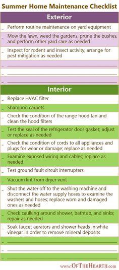 Summer Home Maintenance {printable checklist}