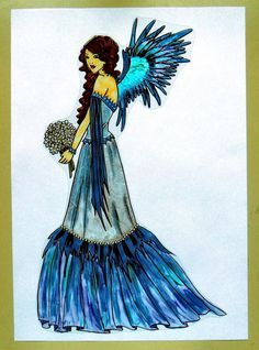 WICOART WINDOW COLOR STICKER CLING FAUX STAINED GLASS SPRING BLEU ANGEL ANGE BLU