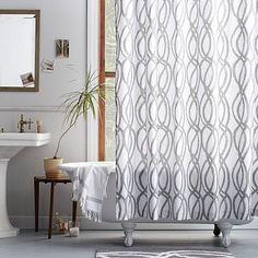 Scribble Lattice Shower Curtain #westelm Curves Ahead. Ribbon Like Swirls  Cascade Down The