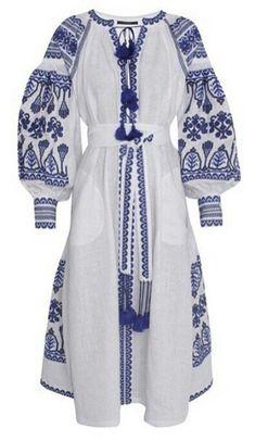 White dress with blue embroidery boho style vyshyvanka  5799daf7d72