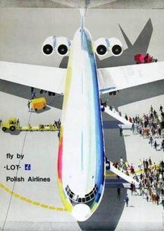 Janusz Grabianski for LOT Polish Airlines European Airlines, Aviation Art, Civil Aviation, Airline Travel, Vintage Travel Posters, Vintage Airline, Art Deco Posters, Poster Ads, Art Deco Period
