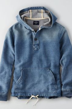 AEO Chambray Baja Hoodie , Blue | American Eagle Outfitters