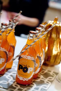 "Baby Shower ""Pop"" #babyshower #drinks  baby shower ideas for girls"
