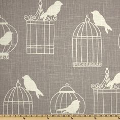 Duralee Home Birdcage Smoke from @fabricdotcom  Screen-printed on a linen/rayon blend fabric, this versatile medium/heavy weight fabric is perfect for window treatments (draperies, valances, curtains and swags), toss pillows, duvet covers, pillow shams, slipcovers and upholstery. Colors include ivory on a grey background.