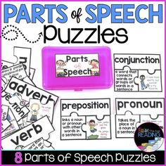 Parts of Speech Vocabulary Puzzles Grammar Posters, Writing Posters, Parts Of Speech Activities, Grammar Activities, Reading Words, Writing Words, Early Finishers Activities, Reading Comprehension Strategies, Guided Reading Groups