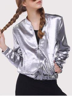 GET $50 NOW | Join RoseGal: Get YOUR $50 NOW!http://www.rosegal.com/jackets/cool-sun-silver-zipper-design-jacket-589735.html?seid=4021664rg589735