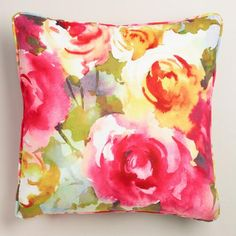 office / One of my favorite discoveries at WorldMarket.com: Watercolor Roses Velvet Throw Pillow