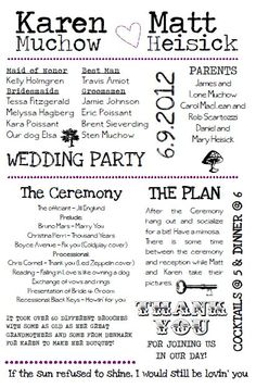 wedding programs wording