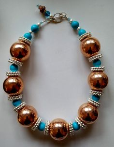 #chunky necklace :) Beaded Jewelry, Fine Jewelry, Beaded Necklace, Jewellery, Bling Bling, Lampwork Beads, Statement Jewelry, Bliss, Tile