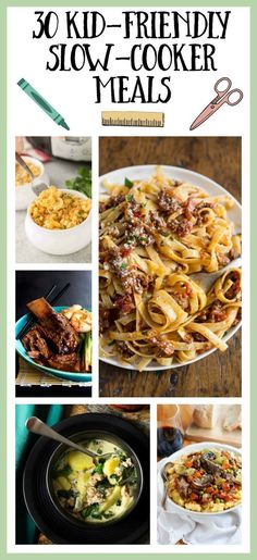 30 Kid-Friendly Slow-Cooker Meals - Kid Friendly Recipes for Picky Eaters - Crockpot Kid Friendly Crockpot Recipes, Crockpot Recipes For Kids, Kid Friendly Meals, Easy Dinner Recipes, Slow Cooker Recipes, Easy Meals, Child Friendly, Dinner Ideas, Kid Meals