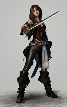 female fighter / swashbuckler / rogue with blade, leather, big boots character inspiration for DnD / Pathfinder Картинки по запросу female Fantasy Warrior, Fantasy Rpg, Medieval Fantasy, Fantasy Artwork, Fantasy Character Design, Character Concept, Character Inspiration, Character Art, Concept Art