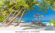 Exotic tropical beach banner as background or wallpaper. Design of tourism for summer vacation holiday destination concept. Holiday Destinations, Travel Destinations, What A Beautiful World, Outdoor Furniture, Outdoor Decor, Vacation Trips, Sun Lounger, Tourism, Exotic