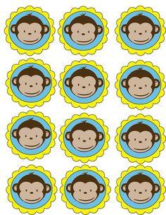 MOD MONKEY BLUE Edible Cupcake Image Party Favor Supply | eBay