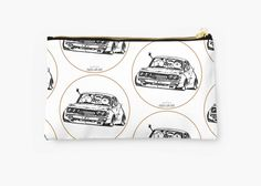 'Crazy Car Art Zipper Pouch by ozizo Car Illustration, Weird Cars, Kustom Kulture, Zipper Pouch, Old School, Zip Around Wallet, Porch, Japanese, Studio
