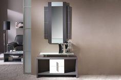 Les presentamos este mueble recibidor completo, con espejo y un estante, disponible en color ceniza combinado con color hueso.