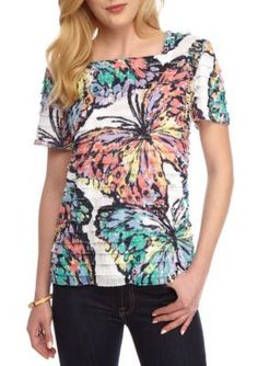 Alfred Dunner Multi Classic Eyelash Butterfly Top