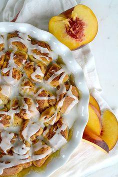 Peach Pie Cinnamon Roll Cobbler