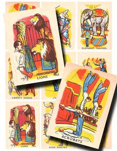 vintage circus cards... acrobats, trapeze artist, juggler, clowns, and more..collage sheet no. 139