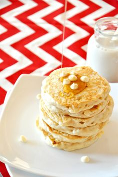 White Chocolate Macadamia Pancakes | 19 Delicious Ways You Can Eat Chocolate For Breakfast