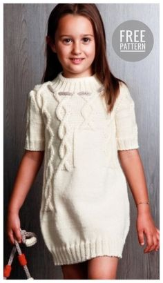 Knitting Vest for Kids Girls Knitted Dress, Knit Baby Dress, Kids Knitting Patterns, Knitting For Kids, Girls Sweaters, Baby Sweaters, Knit World, Kids Outfits, Kids Fashion
