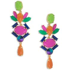 Trina Turk Color Pop Chandelier Earrings ($98) ❤ liked on Polyvore featuring jewelry, earrings, trina turk jewelry, chandelier jewelry, trina turk earrings, trina turk and chandelier earrings