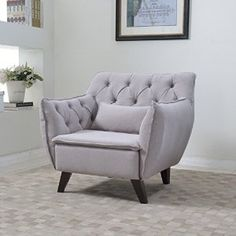 Amazon.com: Mid Century Modern Tufted Linen Fabric Living Room Accent Chair in Colors Dark Grey, Light Grey, and Purple (Light Grey): Kitchen & Dining