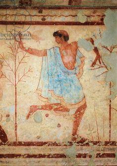 Italy, Latium region, Viterbo province, Tarquinia, Etruscan necropolis, tomb of the Triclinium, detail of fresco depicting a dancer. 5th century b.C. Artwork-location: Tarquinia, Museo Archeologico (Archaeological Museum)