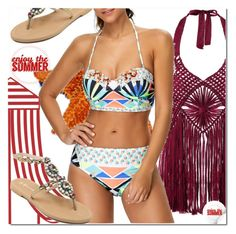 """""""Halter Neck Crochet Fringed Cover-Ups Swimwear"""" by azra-v ❤ liked on Polyvore featuring swimwear and rosegal"""