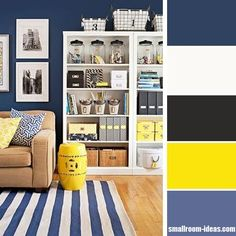 Dark blue and yellow living room