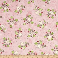 Happy Catz Flowers Pink from @fabricdotcom  Designed by Happy Catz by Patti Connor of SamSarah Design Studio, this cotton print fabric is perfect for quilting, apparel and home decor accents. Colors include pink, beige, red, and green.