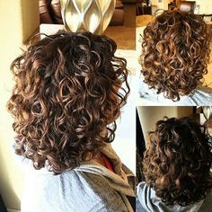 50 Gorgeous Perms Looks: Say Hello to Your Future Curls! Shoulder-Length Brown Perm Hair With Highlights Shoulder Length Curls, Shoulder Length Curly Hairstyles, Medium Hair Styles, Curly Hair Styles, Perm Curls, Short Curly Hair, Curly Girl, Layered Curly Hair, Short Hair With Perm