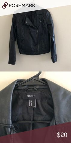 Black Faux Leather Jacket Worn a few times. Not thick. Perfect for Fall. Forever 21 Jackets & Coats