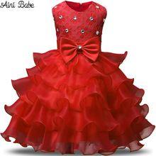Aini Bebé Niña Vestido de Navidad Princesa de Encaje Niños Eventos Bautizo Desgaste Del Partido Vestidos Para Niñas Niños Ropa de Bebé Rojo(China (Mainland))