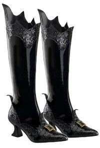 "Boots Pagan Wicca Witch:  Black Patent Witch Boots.  With glitter accents and gold buckles.  2 1/2"" heel."