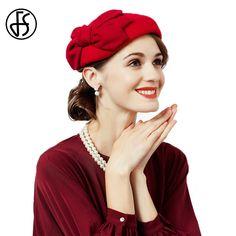 FS Señoras Sombrero de Fieltro de Lana sombreros de Ala de Invierno Rojo de  La Vendimia 3ae6ebdf994