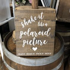 Looking to rent a Kanny Shake It - Wooden Sign in the GTA (Toronto) area? VintageBASH can help! Easily place your rental order today. Crafts To Do, Easy Crafts, Easy Diy, Crafts For Kids, Rustic Signs, Wooden Signs, Polaroid Pictures, Works With Alexa, Blog Love
