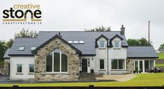 Here you can view a selection of stone houses I have constructed. If you would like further information or would be interested in hiring me as a stonemason then please feel free to contact me. Stone Exterior Houses, Stone Houses, Modern Exterior, Split Level House Plans, Modern Bungalow, Bungalow Designs, Self Build Houses, Stone Cladding, Future House
