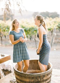 Grape crushing: http://www.stylemepretty.com/little-black-book-blog/2014/12/04/napa-valley-welcome-dinner-grape-stomping/   Photography: Rebecca Yale - http://rebeccayaleportraits.com/