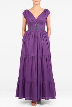 I <3 this Peacock feather tiered cambric maxi dress from eShakti