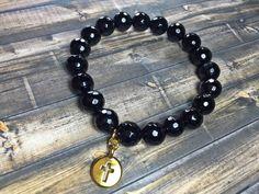 Black Onyx cross bracelet mens bracelet cross by SJIJewelry